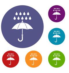 umbrella and rain icons set vector image
