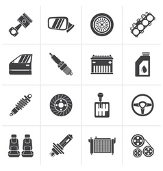 Black detailed car parts icons vector