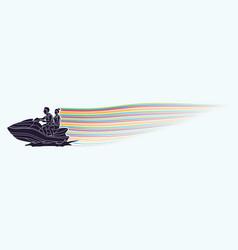Couple riding jet ski vector