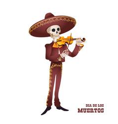 Dia de muertos mariachi musician skeleton violin vector