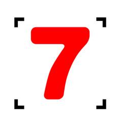 number 7 sign design template element red vector image