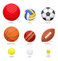 set of sport balls collection tournament win round vector image vector image