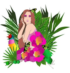 Tropical flowers and leaves and beautiful woman vector image