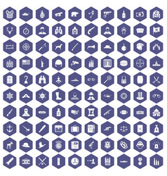 100 bullet icons hexagon purple vector image