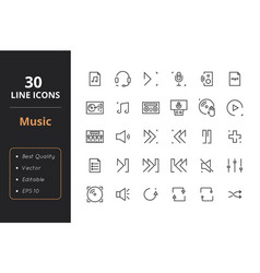 30 music line icons vector image