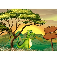 A crocodile walking near the empty arrowboards vector image