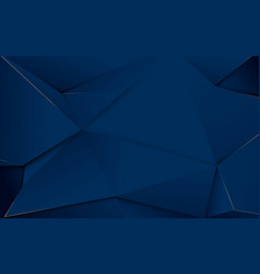 Abstract dark blue polygons and gold lines luxury vector