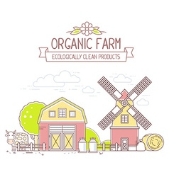 Agribusiness of colorful milk farm life with vector