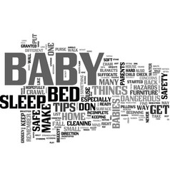 baby safety tips text word cloud concept vector image