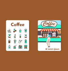 banner coffee shop with linear icons set vector image