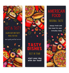 Banners set of fast food restaurant meals vector