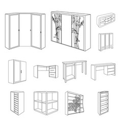 Bedroom furniture outline icons in set collection vector