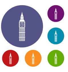big ben clock icons set vector image