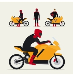 Biker with motorcycle vector image