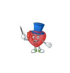 Cartoon character love gift box magician style vector