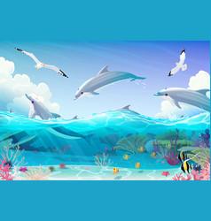cartoon underwater sea clipart vector image