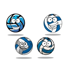 Cartooned blue and white volleyball balls vector image