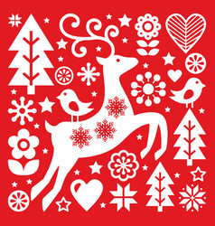 Christmas white scandinavian folk art on red rein vector