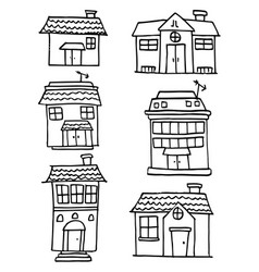 Collection of house and building hand draw vector