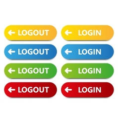 Color button log in log out vector