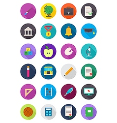 Color round school icons set vector image
