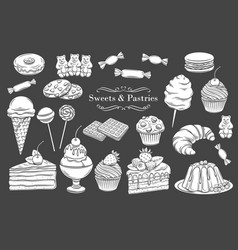 Confectionery and sweets icons vector