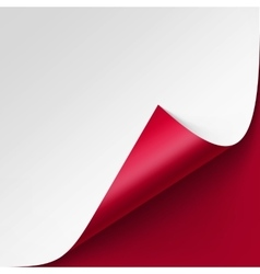 Curled corner of white paper on red background vector