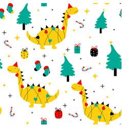 cute dinosaur and merry christmas seamless vector image