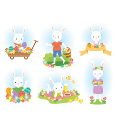 cute easter bunny clipart set vector image