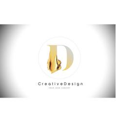 D golden letter design brush paint stroke gold vector