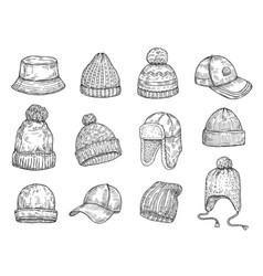 doodle caps knitted winter hats hand drawn warm vector image