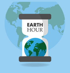 Earth hour globe hourglass time poster vector