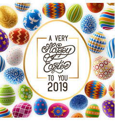 easter background with greeting and decorated eggs vector image