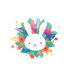 easter greeting card - flowers and cute bunny vector image