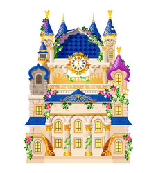 fairytale castle festively decorated with flowers vector image