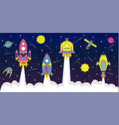 Flat background with spaceships a in starry sky vector