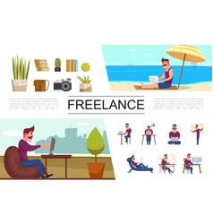 flat freelance elements set vector image