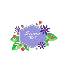 floral logo with frame composed flowers vector image