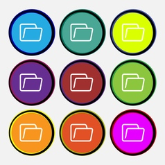 Folder icon sign Nine multi colored round buttons vector image