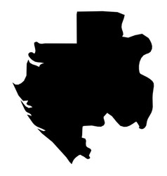 gabon - solid black silhouette map of country area vector image