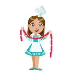 Girl holding string of sausages cute kid in chief vector