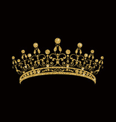 Glittering diadem golden tiara isolated on black vector