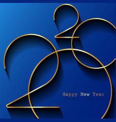 golden 2020 new year logo holiday greeting card vector image