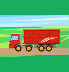 Grain truck transporting crop vector
