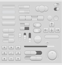 Gray interface buttons and sliders 3d set of ui vector