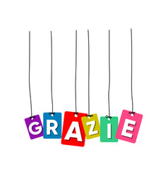 grazie greeting card vector image