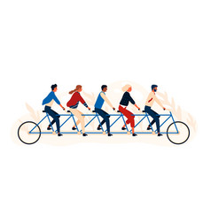 group happy people or friends riding tandem vector image
