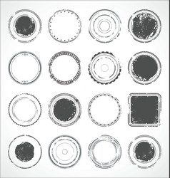 Grunge round paper stickers black and white 3 vector