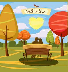 hello autumn park landscape style cartoon vector image