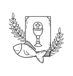 holy bible book with fishes vector image